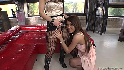 Two slutty girls getting wet and prepped for Rocco Alexis Brill and Athina