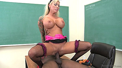 Fishnet reverse cowgirl fuck with Lolly Ink and facial cum unloading