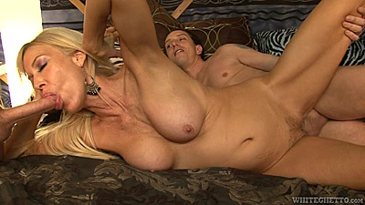 Mature slut Erica Lauren gives head and her hairy pussy nailed with facial