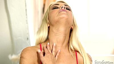 Charming slim babe Lena Love solo masturbation