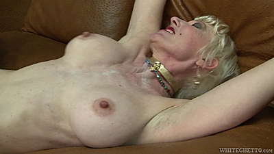 Pleased granny Dalny Marga frontal pussy attack
