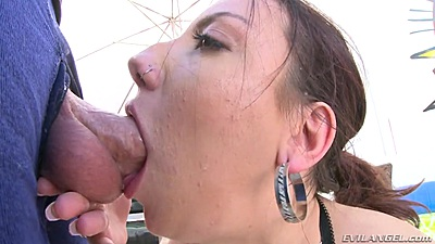 Cock sucking sideview sloppy blowjob gagging with Sophia Grace
