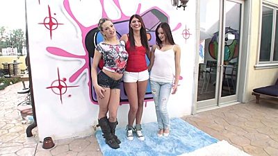 Threesome Hope Howell and Dahlia Sky and Cassandra Nix getting undressed