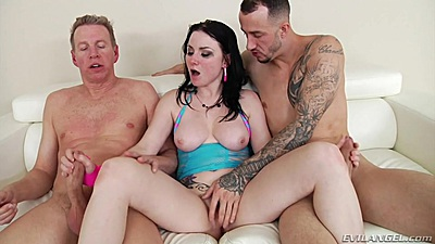 Fingering Veruca James while her jerks on two dicks at once
