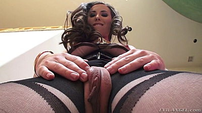 Anal pro Casey Calvert showing off sexy nylons and butt plug