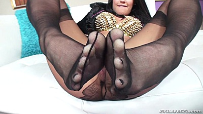 Open crotch nylon and footjob with Roxy Raye