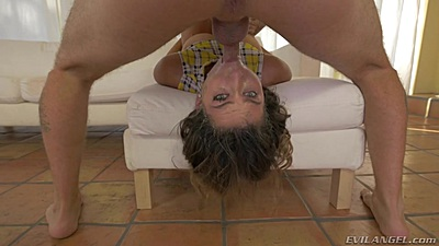 Wild deep throat in reverse position with Melissa Moore