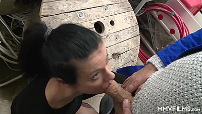 Lively brunette Cassy Young sucking a think penis then sex