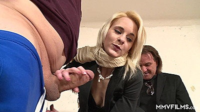 Voracious blonde Ashlee Cox is double teamed in threesome