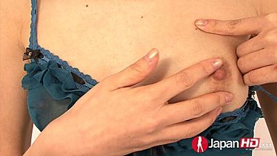 Asian Akina Hara revealing her nipples through lingerie