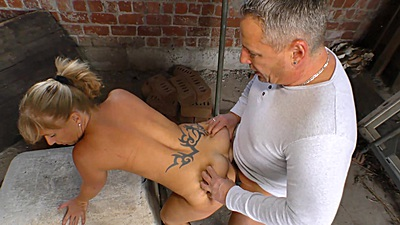 Outdoor fucking around with decent farm wife