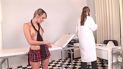 Cute young and a bit shy college school girl Peaches visits doctor Blue Angel