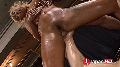 Lecherous oiled up asian Rina Aina is slippery