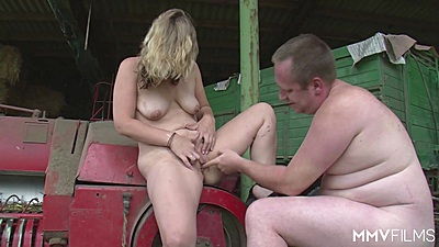 German farm sex couple with mature and experienced mom