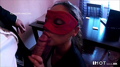 Anxious office lral sex with face masks on Sasha Tuga