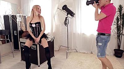 Pretty little slut Olivia Grace getting a photo shoot