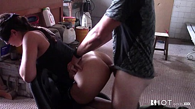 Athletic amateur Sasha Tuga getting intercourse on chair and deep throat