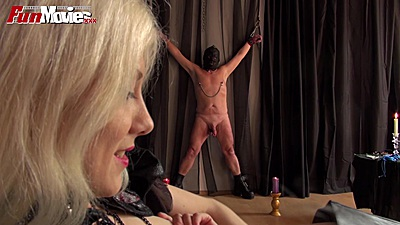 Fetish scene with some bondage  and strap ons Lolita and Larissa Gold