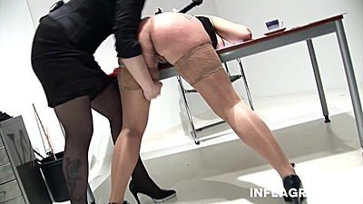 Fingering and spanking with fetish lesbians in office dominatrix from Sarah Leony and Lady Alexxa