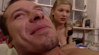 Blonde euro Maria Mia watches as another girl does her man