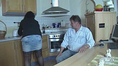 Mini skirt amateur sex couple kitchen sex
