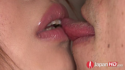 Wet kissing close up with firm boobs asian Rian persuaded to fuck
