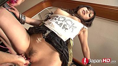 Fingering hairy petite asian on a chair Kanade Otowa up her skirt
