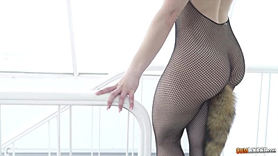Full body stocking fishnet with Nekane having a tail butt plug up her ass