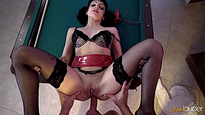 Frontal ass assault with Cleo Gold in pov on pool table