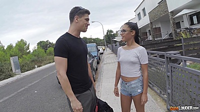 Sex tight shorts on a horny Apolonia met up outdoors