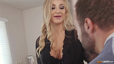 Blonde milf Kayla Green in lingerie walks into kitchen