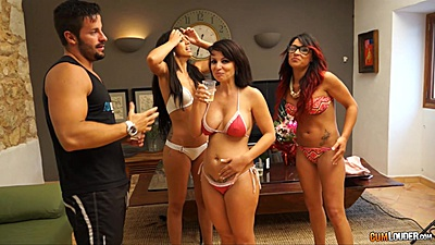 Bikini party with dancing hangover sluts Sara May and Julia de Lucía and Amanda X