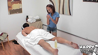 Spicy petite Natia rubbing on oil man during massage on hidden cam