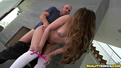 Doggy style natural boobs girl bent over Remy La Croix