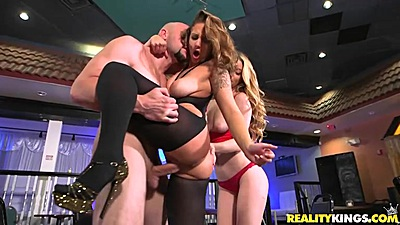 Molly Mae and Layla London having sex for money in threesome