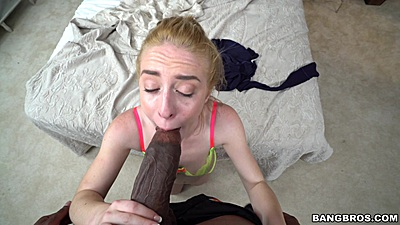 Daring cock sucking white girl Bonnie Gray munching on huge black cock