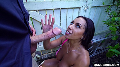 Happy garden worker Priya Price fucking standing up the milf owner of the house