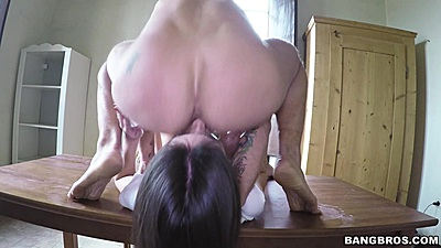 Face sitting and head pushed in for a gagging deep throat with Ena Sweet on table