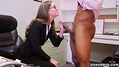 Fully clothed office secretary Tali Dova giving nice cock sucking
