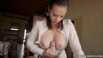Titty fuck and blowjob with aroused waitress Nekane at the fine dining place
