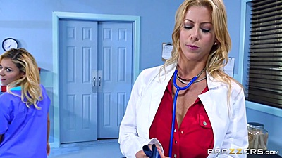 Nurse and doctor Marsha May and Alexis Fawx suck off patients cock