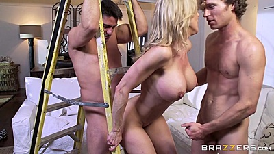 Milf Brandi Love fucking with two construction contractors