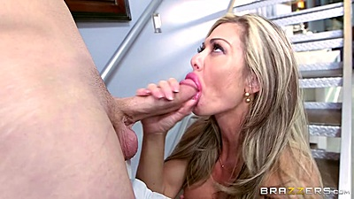 Dick blowing blonde milf Nina Dolci and fucked on stairs