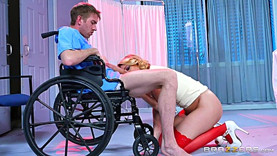 Sexy ass doctor nurse Kagney Linn Karter giving head to horny patient