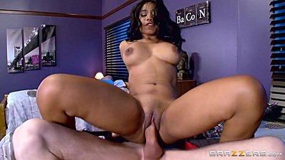 Jenna J Foxx is a black babe with big tits bouncing on dick