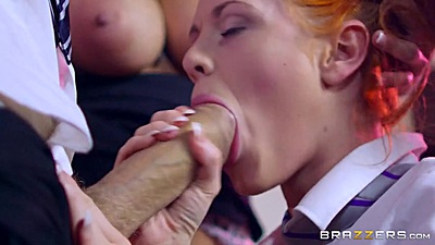 Milf and college student in school girl uniform Ella Hughes and Sensual Jane suck a monster cock