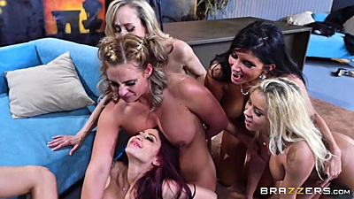 Phoenix Marie and Marsha May with Monique Alexander and Romi Rain fuck one man in late night orgy
