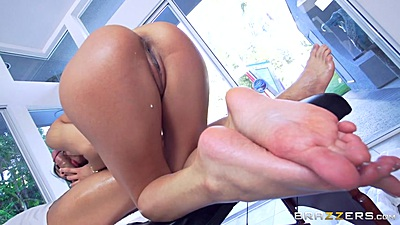 Veronica Rodriguez showing off her feet and cowgirl sex on massage table