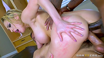 Double penetration interracial fucking with Kagney Linn Karter
