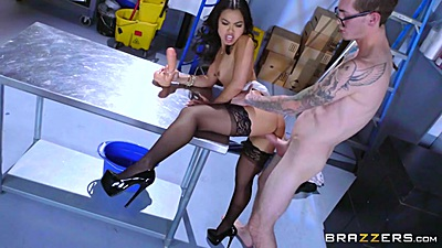 Asian slut Cindy Starfall having sex with janitor and needs dildo to help her